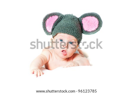 The amusing kid - a little mouse on a white background