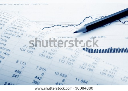 The analysis of the financial information. - stock photo