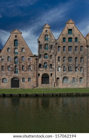 The ancient buildings of the salt warehouse in the center of the hanseatic city of Lubeck, in Germany, Unesco world heritage. - stock photo
