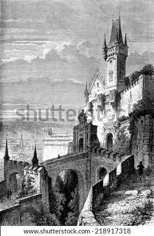 The ancient castle of Cobourg, vintage engraved illustration. Le Tour du Monde, Travel Journal, (1872). - stock photo