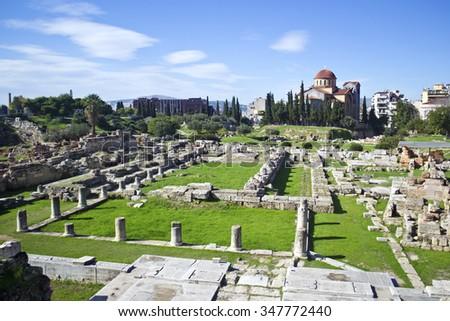 the ancient cemetery of Athens in Kerameikos Greece - stock photo