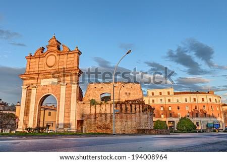 "the ancient city gate ""Porta Schiavonia"" in the town Forli', Emilia Romagna, Italy  - stock photo"