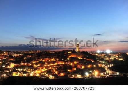 The ancient city of Matera at sunset, Basilicata, Italy
