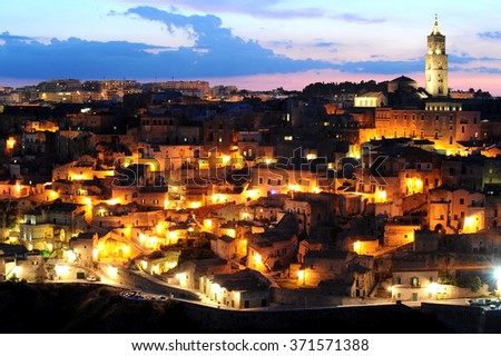 The ancient city of Matera at sunset, Basilicata, Italy, Europe
