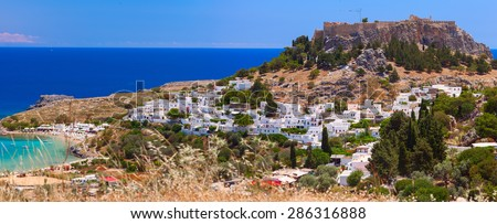 The ancient city â?? state of Lindos, protected by its strong Acropolis was a major maritime power and experienced a significant cultural growth. Rhodes island, Greece. - stock photo