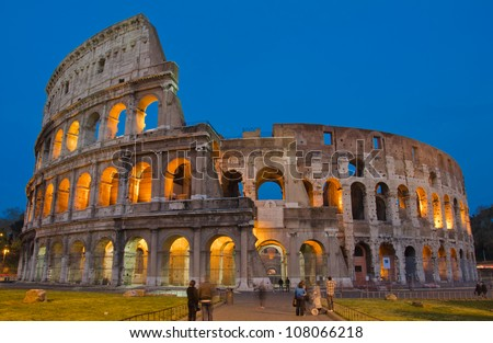 The ancient Colosseum in Rome, beautiful night shot - stock photo