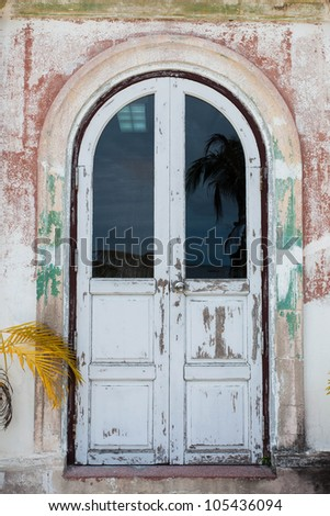 The ancient door. Made of wood and glass. - stock photo