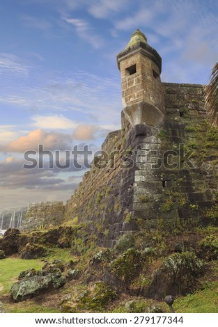The Ancient Fort in Horta at Sunset, Portuguese, Azores - stock photo