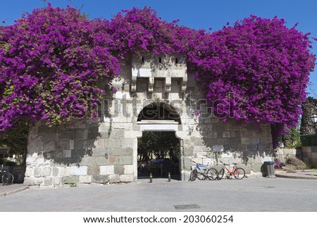 The ancient gate of Greek and Roman city at Kos island in Greece - stock photo