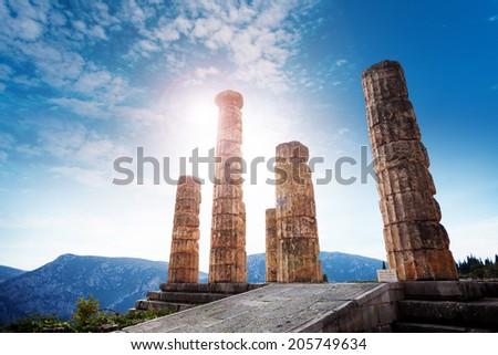The ancient Greek temple of Apollo - stock photo