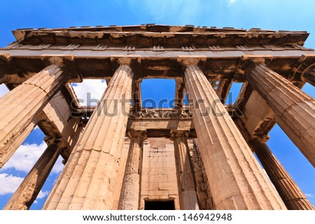 The ancient greek temple of Hephaestus in the ancient Agora in Athens, Greece - stock photo