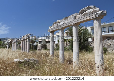 The ancient gymnasium of Kos island in Greece  - stock photo