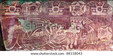 The ancient image of the red jaguar on the ruins of Teotihuacan - Mexico - stock photo