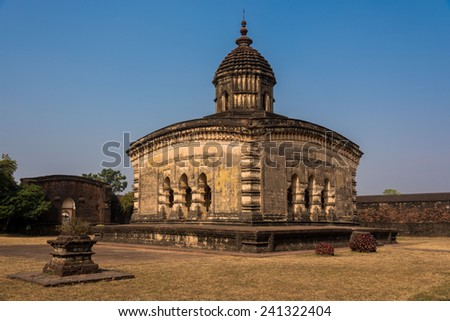The ancient Lalji temple constructed in 16th century is one of the oldest temples in Bishnupur - stock photo