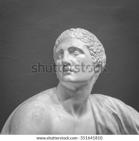 The ancient marble portrait bust. - stock photo