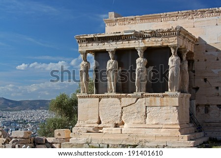 The ancient Porch of Caryatides in Acropolis, Athens, Greece  - stock photo
