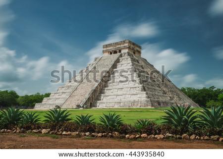 The ancient Pyramid of Kukulcan, or El Castillo, in Chichen Itza, Mexico. - stock photo