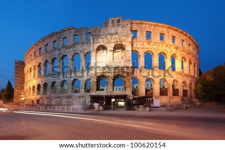The Ancient Roman Amphitheater in Pula, Croatia - stock photo
