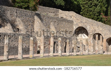 The ancient Roman city of Pompeii. A part of gladiator barracks.