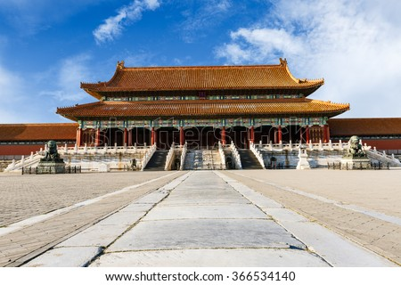 The ancient royal palaces of the Forbidden City in Beijing, China