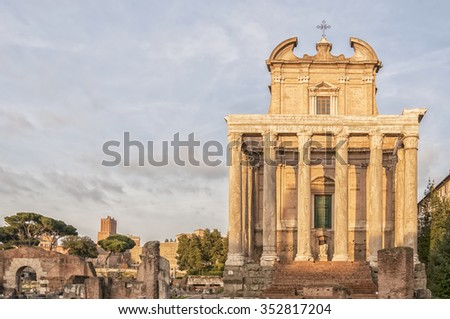 The ancient ruin of the Roman Temple of Antoninus and Faustina situated in the Italian capital of Rome. - stock photo