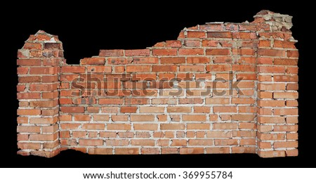 The ancient ruined part of the wall - stock photo