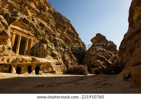 The ancient ruins of Little Petra, an archaeological site near the bigger site of Petra, Jordan. - stock photo