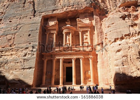 The ancient ruins of the Treasury Building in Petra, built to huge proportions.