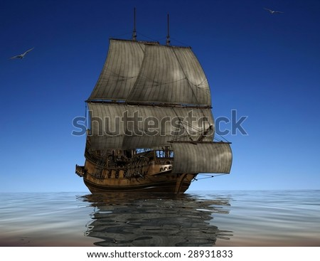 The ancient ship in the sea - stock photo
