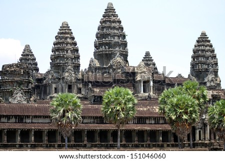 The ancient temple of Angkor Wat near Siem Reap, Cambodia. - stock photo