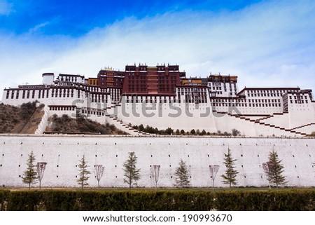 The Ancient Temple , Potala Palace (Lhasa, Tibet) - stock photo