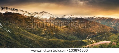 The Andes Mountains in Chile - stock photo