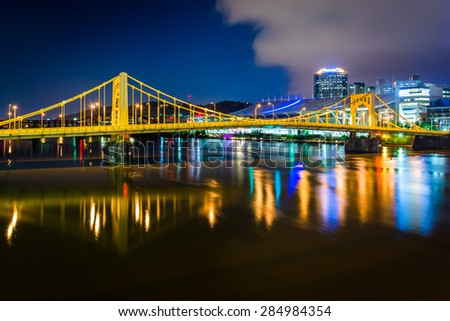 The Andy Warhol Bridge over the Allegheny River at night, in Pittsburgh, Pennsylvania. - stock photo