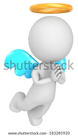 The Angel. Dude the Angel. 3D little human character. Isolated. - stock photo
