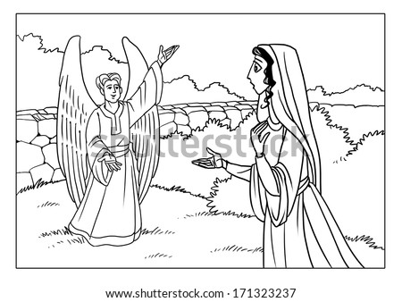 mary and gabriel coloring page - angel gabriel stock images royalty free images vectors