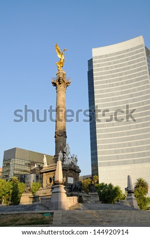 The Angel of Independence (victory column) in Mexico City - stock photo