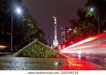The Angel of Independence (Victory column) over Paseo de la Reforma in downtown Mexico City, Mexico - stock photo