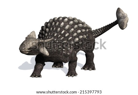 The Ankylosaurus dinosaur lived during the Cretaceous period - 3D render.