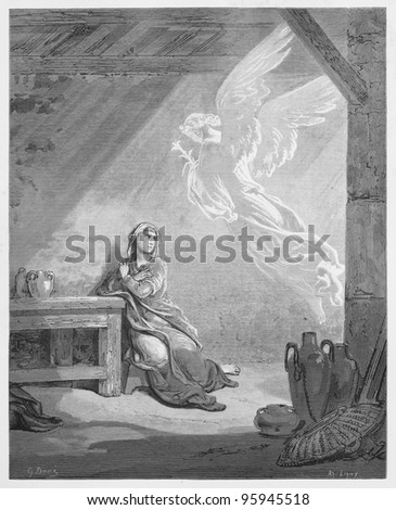 The Annunciation - Picture from The Holy Scriptures, Old and New Testaments books collection published in 1885, Stuttgart-Germany. Drawings by Gustave Dore. - stock photo