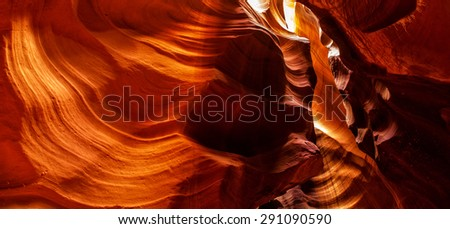 The Antelope Canyon, near Page, Arizona, USA. The Antelope Canyon is the most-visited and most-photographed slot canyon in the American Southwest. - stock photo