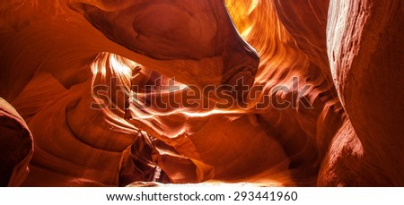 The Antelope Canyon, near Page, Arizona, USA. The Antelope Canyon is the most-visited and most-photographed slot canyon in the American Southwest.
