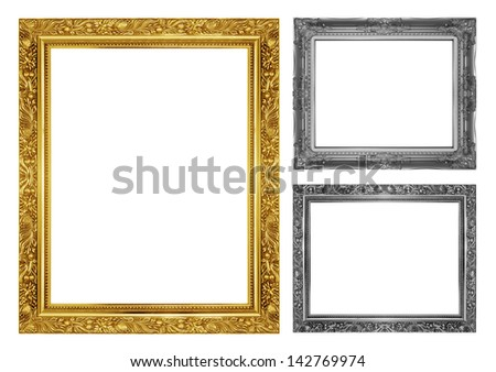 The antique frame on the white background - stock photo