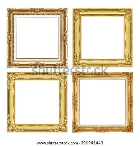 The antique gold frame collection isolated on white / frame background