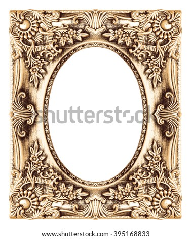 The antique gold frame ellipse on the white background