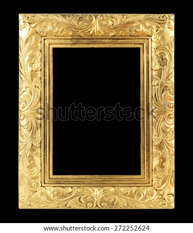 The antique gold frame on the  black background - stock photo