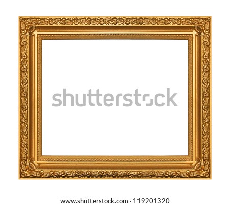 The antique gold frame on the white background - stock photo