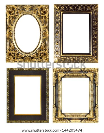 The antique gold frame set on the white background