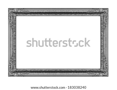 The antique gray frame on the white background  - stock photo