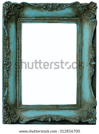 The antique green frame on the white background  - stock photo