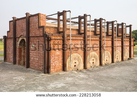 The Antique Invert Flame Kiln of Taiwan Renga ,An Historical Building Built in The Early 20 Century. It Produced Bricks. Now A Popular Landmark for Tourists. Located in Kaohsiung, Taiwan. - stock photo
